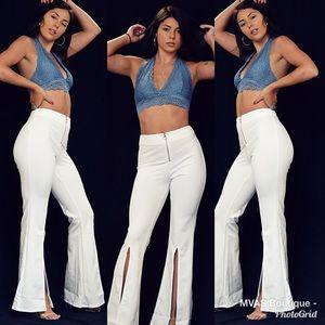 Pants - White front slit pants